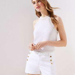 Denim Sailor Shorts in White | LOFT
