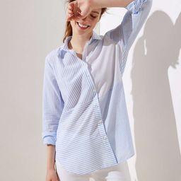 Mixed Stripe Button Down Tunic Shirt   LOFT