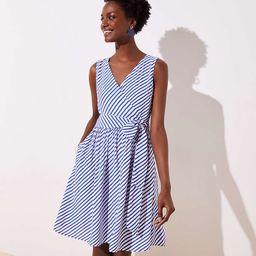 Petite Striped Flare Wrap Dress   LOFT