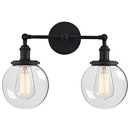 """Phansthy Glass Wall Sconce 2 Light Industrial Wall Sconce 5.9"""" Edison Globe Wall Light Shade   Amazon (US)"""