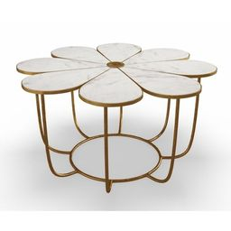 Flower Marble Cocktail Table | Overstock
