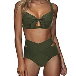FeelinGirl Women's Sexy Criss Cross High Waist Bandage 2PCS Bikini Set Swimsuit | Amazon (US)