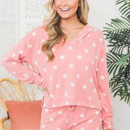 Endless Nights Coral Star Printed Pullover   The Pink Lily Boutique