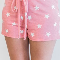 Endless Nights Coral Star Printed Lounge Shorts   The Pink Lily Boutique