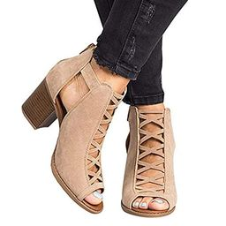 Liyuandian Womens Open Toe Lace Up Strappy Platform High Heel Sandals | Amazon (US)