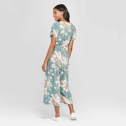 Women's Floral Print Short Sleeve Deep V-Neck Button Front Cropped Jumpsuit - Xhilaration™ Sage | Target