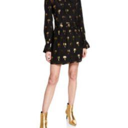 Metallic Palm-Print Short Page Boy Dress   Bergdorf Goodman