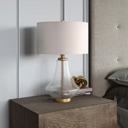 Table lamp in clear seeded glass and brushed brass | Overstock