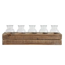 Wood Crate with 5 Glass Bottles - 3R Studios   Target