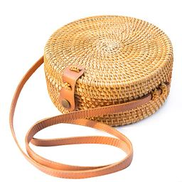 Handwoven Round Rattan Bag Shoulder Leather Straps Natural Chic Hand NATURALNEO   Amazon (US)