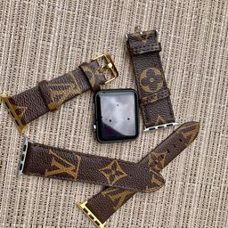 LV Inspired Louis Vuitton Monogram Apple Watch Bands Leather Band 38mm 40mm 42mm 44mm Iwatch | Etsy (US)