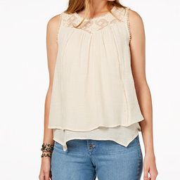 Style & Co Lace-Trim Swing Top, Created for Macy's & Reviews - Tops - Women - Macy's | Macys (US)