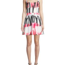 Camila Modern Scribble-Print Fit-&-Flare Dress   Bergdorf Goodman