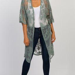 Sage Green Crochet Mesh Kimono | PinkBlush Maternity