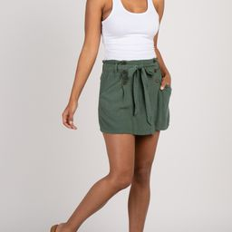 Olive Button Front Wrap Skort | PinkBlush Maternity