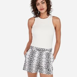 high waisted belted snakeskin print shorts   Express