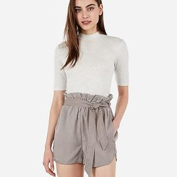 high waisted sash tie twill utility shorts   Express