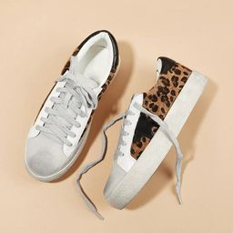 Leopard Print Lace-up Sneakers | SHEIN
