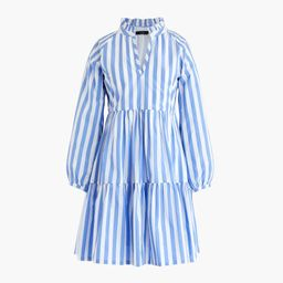 Tiered popover dress in striped cotton poplin | J.Crew US