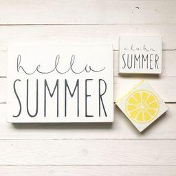HELLO/ALOHA SUMMER beach theme tiered tray mini-small rustic farmhouse wood sign- rae dunn inspir... | Etsy (US)