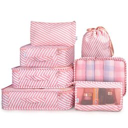 Packing Cubes 7 Pcs Travel Luggage Packing Organizers Set with Toiletry Bag (PINK STRIPE)   Amazon (US)