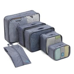 6 Set Packing Cubes/Travel Cubes - Travel Organizers with Shoe Bag-Gray   Amazon (US)