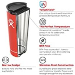 Hydro Flask 32 oz Double Wall Vacuum Insulated Stainless Steel Travel Tumbler Cup with BPA Free P...   Amazon (US)