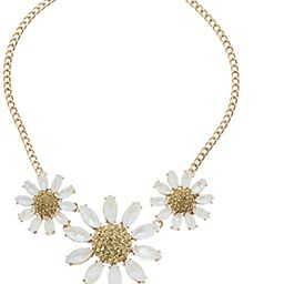 Betsey Johnson (GBG) Women's Pave Daisy Flower Frontal Necklace, Yellow, One Size | Amazon (US)