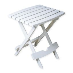 Adams Manufacturing Rectangle All-Weather Quick Fold Side Table in White | Bed Bath & Beyond