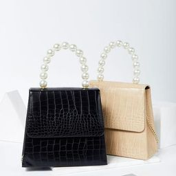 Crocodile Pattern Bag w/ Pearl Handle   Storets (Global)