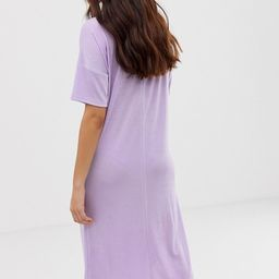ASOS DESIGN slinky midi t-shirt dress with zip neck | ASOS US