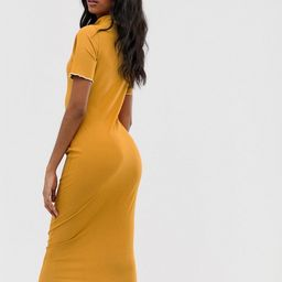 ASOS DESIGN midi rib bodycon dress with contrast stitch | ASOS US
