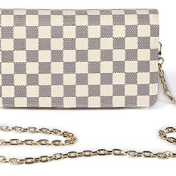 Daisy Rose Checkered Cross body bag - RFID Blocking with Credit Card slots clutch -PU Vegan Leather | Amazon (US)