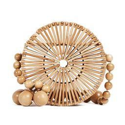 Round Bamboo HandBag Straw Basket Purse Summer Beach Bag | Amazon (US)