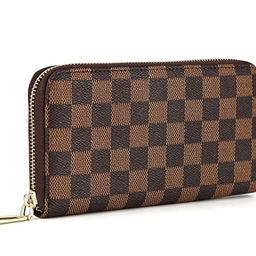 Daisy Rose Women's Checkered Zip Around Wallet and Phone Clutch - RFID Blocking with Card Holde... | Amazon (US)