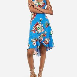 floral print ruffle wrap midi dress   Express