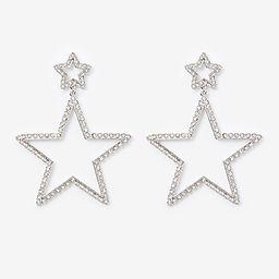 two tier rhinestone star drop earrings   Express