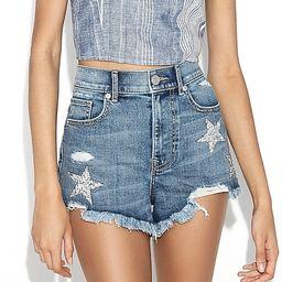 super high waisted frayed hem star denim shorts   Express