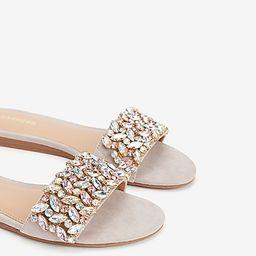 jewel embellished slide sandals   Express