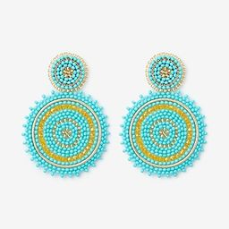 sparkle seed bead circle drop earrings   Express