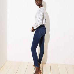 Modern High Rise Chewed Hem Skinny Jeans in Staple Dark Indigo Wash   LOFT
