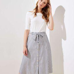 Striped Tie Waist Button Front Skirt   LOFT