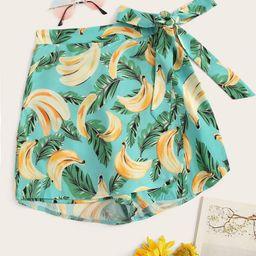 Banana Print Knot Side Skorts | SHEIN