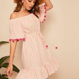 SHEINDrawstring Waist Pom Pom Detail Stripe Bardot Dress | SHEIN
