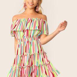 SHEINFoldover Front Off Shoulder Frill Trim Striped Dress   SHEIN
