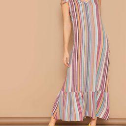 SHEINTie Shoulder Ruffle Hem Maxi Striped Dress   SHEIN