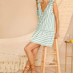 SHEINKnotted Strap Button Front Striped Dress | SHEIN