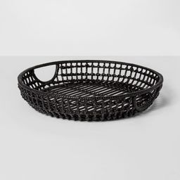 """16"""" x 3"""" Iron And Rattan Tray Black - Project 62™   Target"""