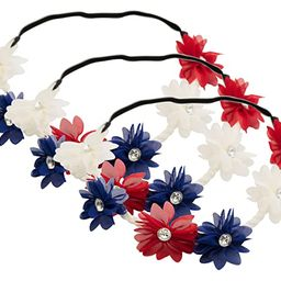 Partay Shenanigans 4th of July Flower Stretch Headbands 3 Pack- American Patriotic Red White Blue... | Amazon (US)
