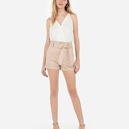 super high waisted sash tie stretch+ twill shorts   Express